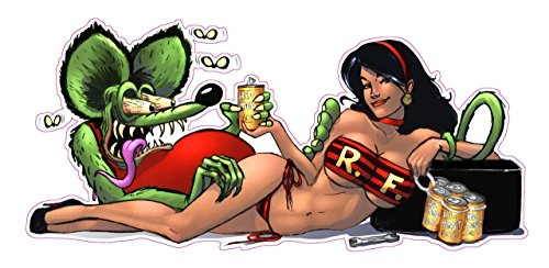 2pcs Rat Fink Pin up Girl Sexy flies Decal 6""