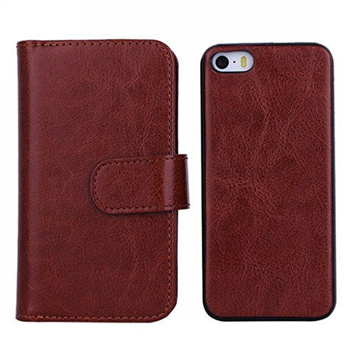 iPhone SE Coque, Ancreu Détachable Case Folio Flip Multiples Card Slots Amovible Etui Portefeuille pour iPhone 5/5s/SE (Brun)