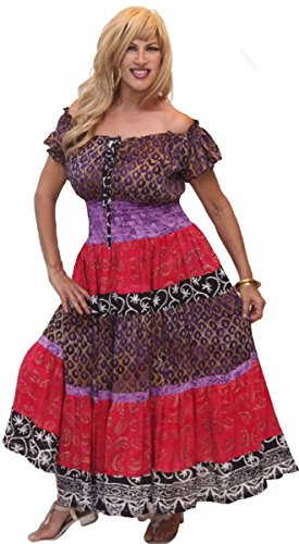 LOTUSTRADERS Damen Kurzärmeliges Batik Kleid Grün-Senf-Braun RVUpja