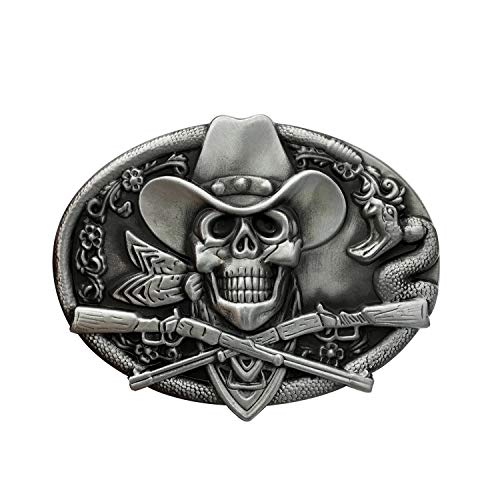 QUKE Western Cowboy Ghost Skeleton Skull with Rifles Guns Belt Buckle Silver Enamel