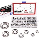 Hilitchi 304 Stainless Steel [#4 - #16] Finishing Cup Countersunk Washer Assortment Set - 160 Pieces