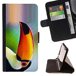 BullDog Case - FOR/Samsung Galaxy Note 4 IV / - / parrot bird tropical nature orange rainforest /- Monedero de cuero de la PU Llevar cubierta de la caja con el ID Credit Card Slots Flip funda de cuer