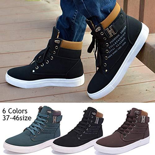 wangxiyan Comfortable Casual Canvas Shoes Warm High-top Boots Hot Fashion Men's Shoes Korean Style Sneakers Shoes(Black,38) (Korean Style High Tops Shoes)