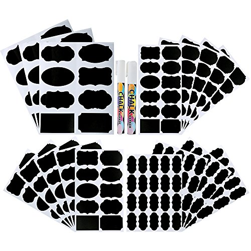 Pllieay 214 Pieces 4 Sizes Chalkboard Labels Waterproof Reusable Chalkboard Labels Stickers with 2 Pieces Erasable Chalk Markers for Decorating Jars, Kitchen Pantry, Home and Office