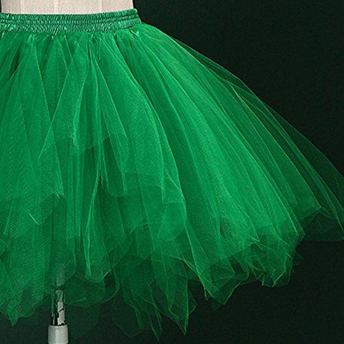 Danse Jupe Fte Adulte Spectacle Tulle Courte Lger Multi Femme Tutu pour en Fonc lastique Feoya Ballet Couches Jupe Taille Vert wOEXZq6