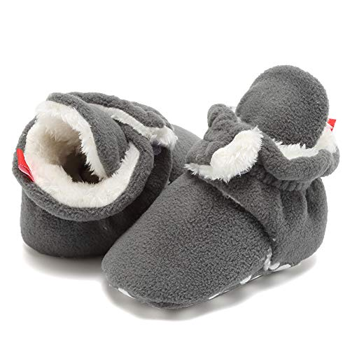 EQUICK Baby Cozy Fleece Booties with Non Skid Bottom(Woolen Style),DNDEQNKXBX,Button.Heather.Gray,13 by EQUICK