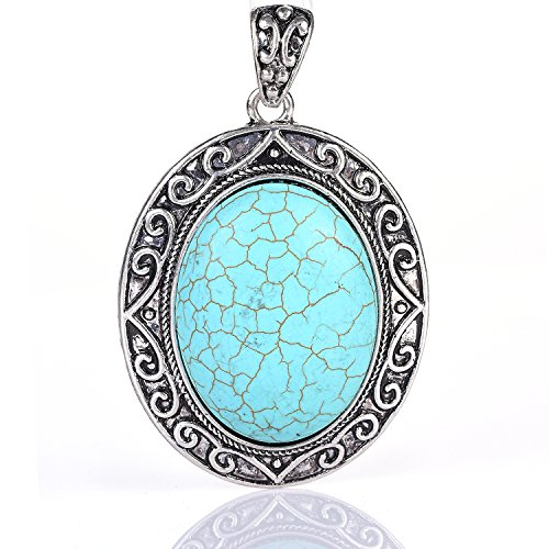 GJYbeads Turquoise Pendant with OPP Bag Packing Oval Shape