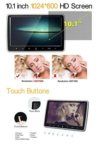 10.1 Inch HD 1024 x 600 HDMI USB SD IR/FM Ultra Thin Digital Touch Key LCD Screen Car DVD Player Headrest Monitor by Hengweili by Hengweili (Image #1)