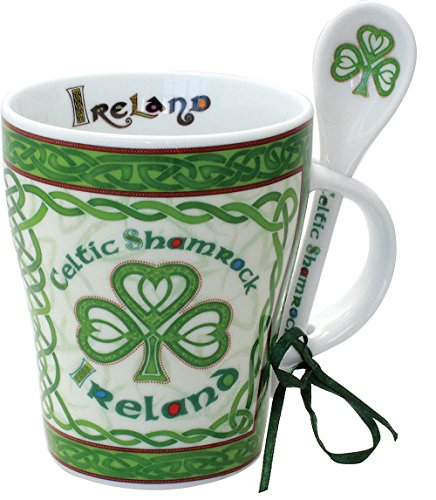 Celtic Collection Mug & Spoon Set Celtic Shamrock Design (Tea Shamrock Set)