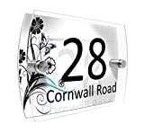 Personalised House Number Sign Printed Plaque Garden Glass Effect Acrylic Sign Door Plate Marble Wall Display 2 Part Branded Acrylic (Colourful summer flowers in blue and black)