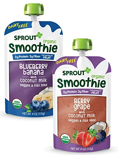 Sprout Organic Toddler Smoothie (Non-Dairy) Variety 4 Oz Pouches (Blueberry Banana W/Coconut Milk Pouches, Berry Grape W/Coconut Milk Pouches), 12Count