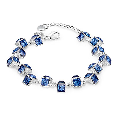 925 Silver Filled Bracelets & bangles Sapphire Deep blue Topaz fashion jewelry 20cm 7.87 inch (Bangle Blue Topaz Bracelet)