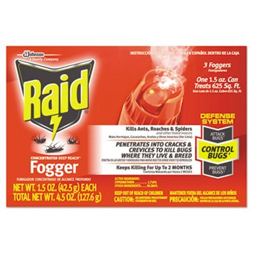 Deep Reach Fogger - JohnsonDiversey CB815901 Raid Concentrated Deep Reach Fogger, Insecticide Triple Pack, 1.5-oz. Cans,