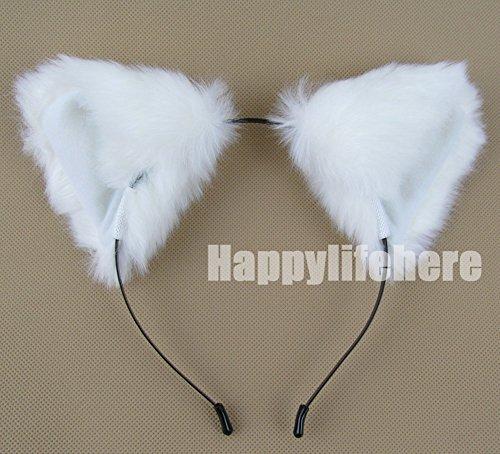 [Women Cat Ear Headband Halloween Cute Party Anime Cosplay Costume Kitty Cat Ears White Hairband] (White Cat Costume For Women)
