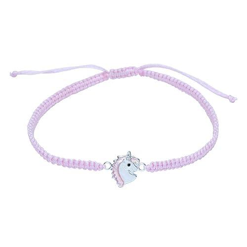 Pulsera de unicornio de plata de ley con cuerda rosa: Amazon ...