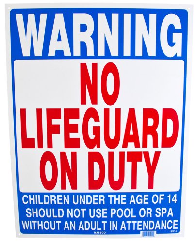 National Stock Sign Co. No Lifeguard on Duty Durable Plastic Sign