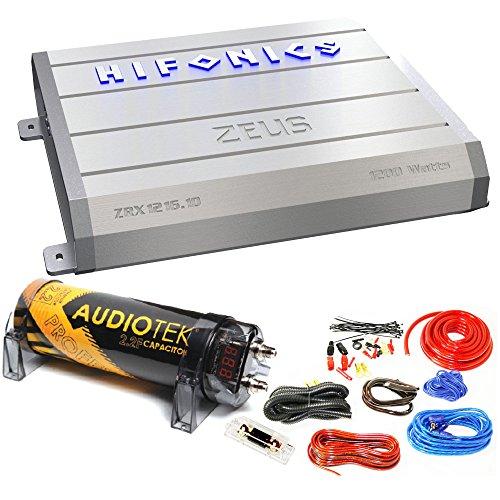 Package Bundle: Hifonics Zeus ZRX1216.1D 1200W Monoblok + Audiotek 2.2 Farad Capacitor AT-2.2FC + Amplifier Installation Kit (Hifonics Zeus Amp Mono)