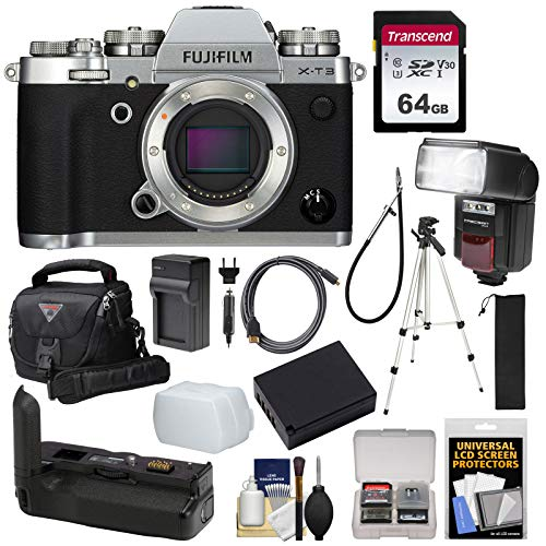 Fujifilm X-T3 4K Wi-Fi Digital Camera Body (Silver) with VG-XT3 Battery Grip + 64GB Card + Battery & Charger + Tripod + Flash + Case Kit