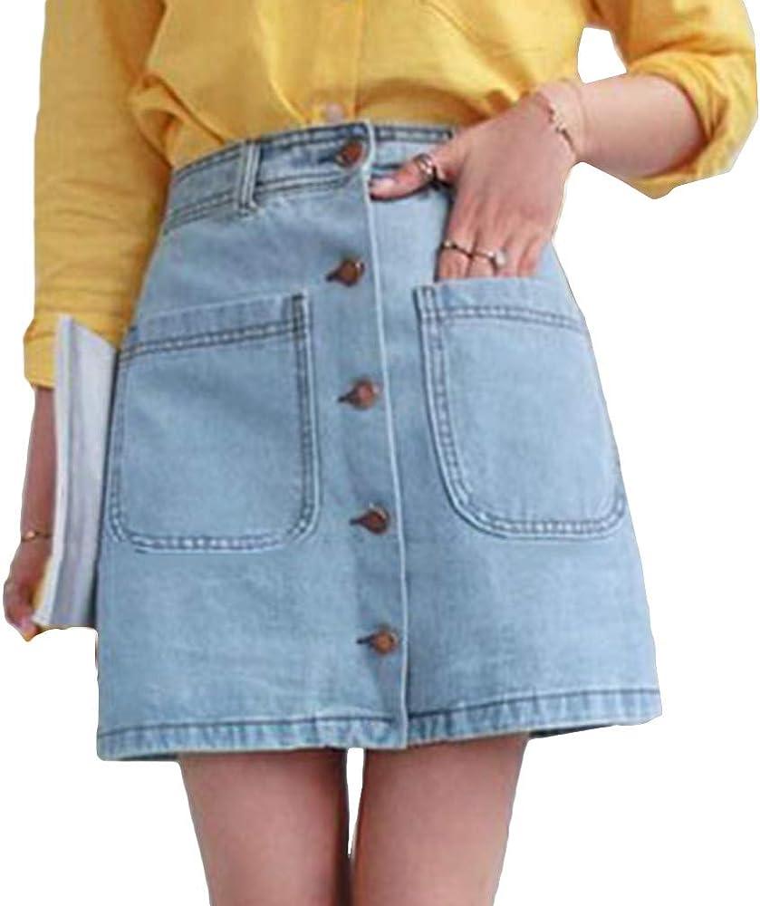 Hongxin Moda Falda para Mujer - Slim Fit De Cintura Alta Mezclilla ...