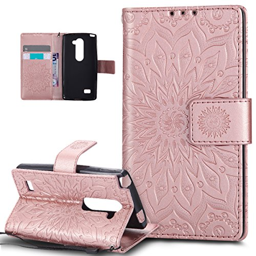 LG C40 Case,LG C40 Cover,ikasus Embossing Mandala Flowers Sunflower Pattern Premium PU Leather Magnetic Flip Folio Kickstand Wallet Case with Card Slots Protective Case Cover for LG C40,Rose Gold