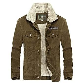 WINTRSAI Winter Thick Warm Wool Men's Corduroy Jacket Blue