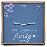 Mother, Sister, Daughter in Law Necklace, Sterling Silver Dainty Horizontal Branch Jewelry Gift, Wedding