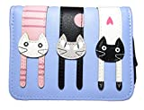 Nawoshow Women Cute Cat Wallet Coin Purse Bifold Wallet Clutch Bag (Blue)