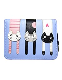 Nawoshow Women's Cat Pattern Zip Mini Wallet Short Design Coin Purse