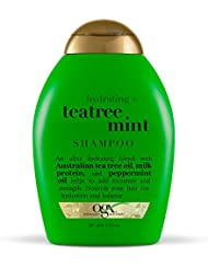 OGX Hydrating TeaTree Mint Shampoo, 13 Ounce Bottle, Moisturizing Shampoo Infused with Australian Tea Tree Oils,   Sulfate-Free
