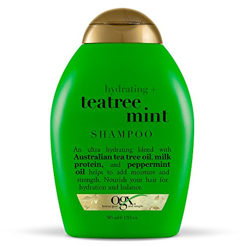 OGX Shampoo, Hydrating TeaTree Mint, (1) 13 Ounce Bottle Moisturizing Sulfate Free Surfactants Shampoo with Australian Tea Tree Oil, Paraben Free