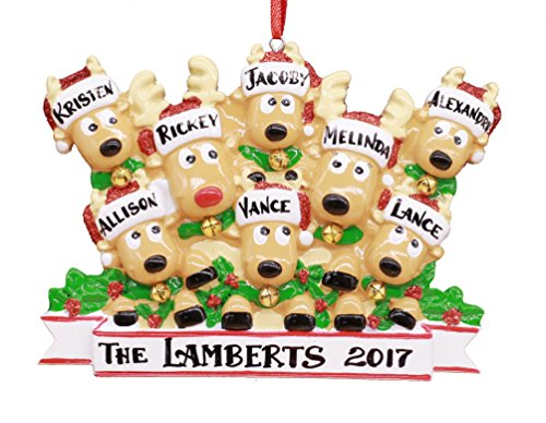 2017 Reindeer Family Hand Personalized Christmas Ornament - Family of 8 (With 6 Children or Grandparents with 6 Grandchildren)