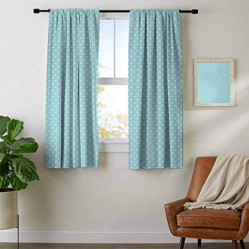(youpinnong Light Blue, Blackout Curtains Kids, Classic Polka Dots Vintage Design Stylish Cottage Country Artwork Print, Curtains Girls Bedroom, W72 x L72 Inch Light Blue White)