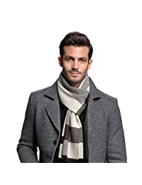 RIONA Men's Winter Cashmere Feel Australian Wool Soft Warm Knitted Scarf with Gift Box(Coffee)
