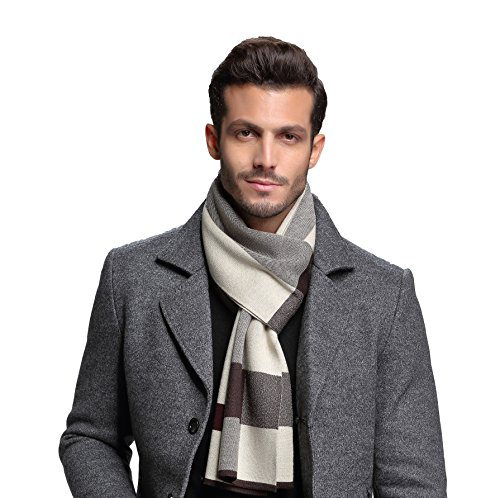 - RIONA Men's Winter Cashmere Feel Australian Wool Soft Warm Knitted Scarf with Gift Box(Coffee)