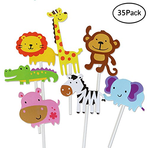 iMagitek 35 Pcs Jungle Animals Cupcake Toppers Picks, Zoo Animal Cupcake Cake Toppers Picks for Kids Birthday Party, Baby Shower Cake Decorations