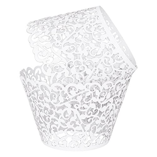 Cupcake Wrappers, 100 Filigree Artistic Bake Cake Paper Cups Little Vine Lace Laser Cut Liner Baking Cup (White) (Sofia The First Cupcake Stand)