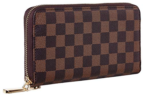 - Rita Messi Women's Checkered Zip Around Wallet and Phone Clutch RFID Blocking Card Holder Organizer (Brown)