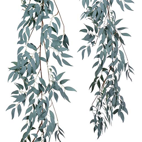 Artiflr Artificial Hanging Leaves Vines, 5.7 Ft Fake Willow Leaves Twigs Silk Plant Leaves Garland String in Green for Indoor/Outdoor Wedding Decor Party Supplies Greenery Crowns Wreath (1 Pack)