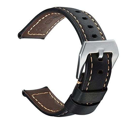 Quick Release Leather Smart Watch Band, Pluwatch Genuine Leather Replacement Watch Strap with Stainless Metal Clasp (Effect Leather Watch Strap)