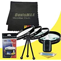 72mm Macro Close Up Kit for Sony a7 with Sony 16-50mm DT Lens + DavisMAX Fibercloth Deluxe Macro Bundle