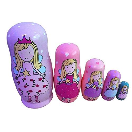 - Glamorway 5-Nesting Cute Wooden Nesting Dolls Matryoshka Animal Russian Doll Christmas Gift (Young Girl)