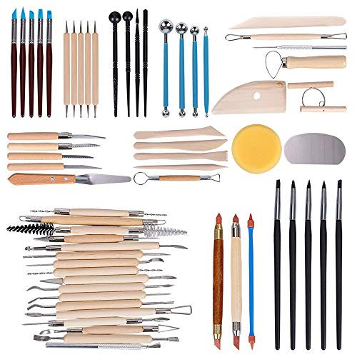 Tonsiki 61 Pieces Ceramic Clay Tools Set, Modeling Pottery Clay Sculpting Tools Kits for Beginners Professional Art Crafts, Wood and Steel, Schools and Home Safe for - Ceramic Clay