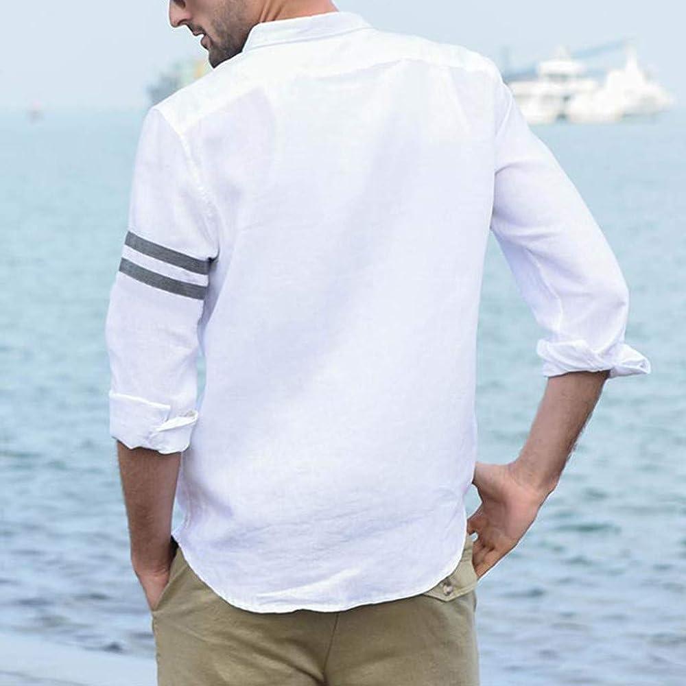 Camisas de Trabajo para Hombre Honestyi Camisa Business Elegante Tops Revés Camiseta Manga Larga Camiseta Monocolor Blanco XXL: Amazon.es: Ropa y accesorios