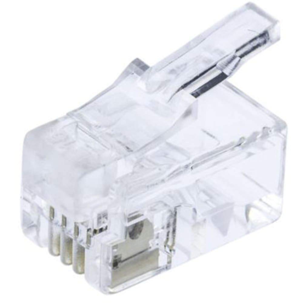 4P4C Straight Cable Mount RJ22 Modular Plug Connector, Pack of 100