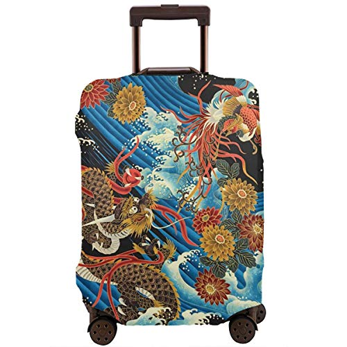 Luggage Cover Protective Washable Suitcase Protector Cover Travel Elastic Spandex Baggage Protector Eastern Chinese Style Dragon Phoenix Sea Wave Fit 18 To 32 Inch