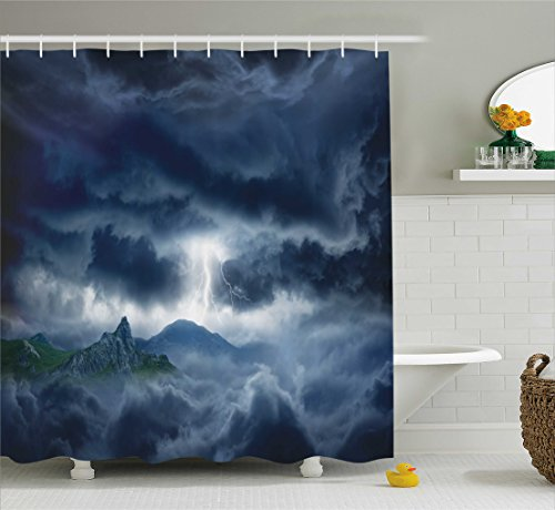 Nature Shower Curtain by Ambesonne, Flash in Dark Stormy Sky over Mountains Like Fictional Fantastic Powerful Nature Image, Fabric Bathroom Decor Set with Hooks, 70 Inches, Blue (Ideas Christmas Indoor Decor)