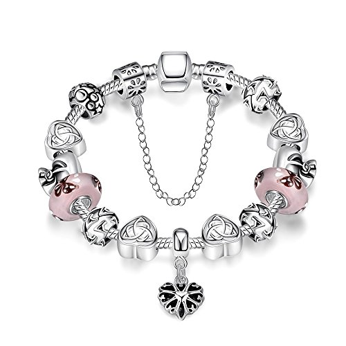 [Gorgeous Jewelry Hand Carving Flower Silver Heart Pattern Pendant Pink Crystal Bracelet] (Dollar Jumbo Glasses)