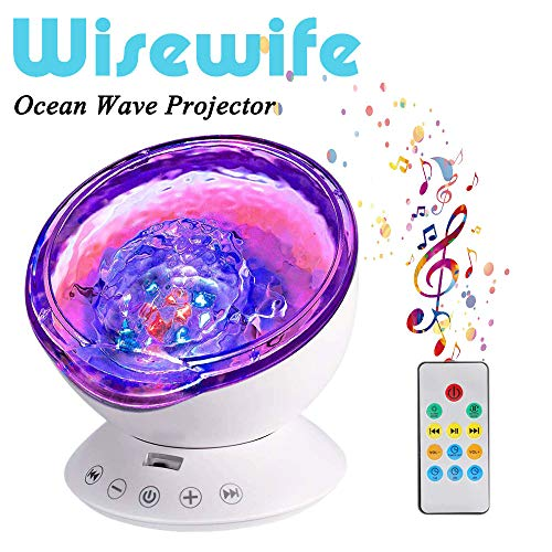 Ocean Wave Projector - Remote Control Night Light with 7 Color Changing 12 LED Undersea Projector Lamp Built-in Music Player - for Kids Adults Bedroom Living Room Decoration