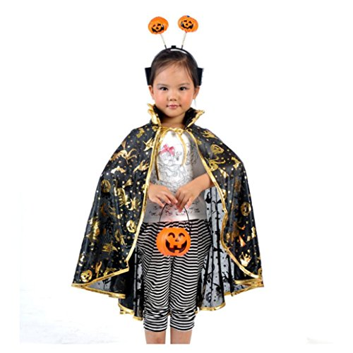[Oksale® Halloween Costume Dainty Golden Polyester Pumpkin Robe Shawl +Pumpkin Bag+ Pumpkin Headbands] (80s Prom King And Queen Costume)