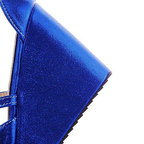 AllhqFashion Mujeres Hebilla Plataforma Cuero Sólido Peep Sandalia Azul